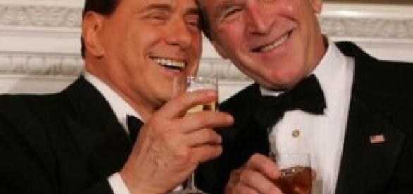 Silvio Berlusconi insieme a Bush