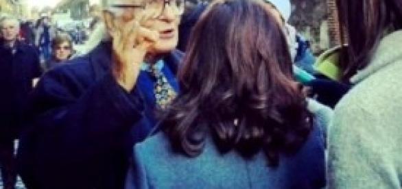 Pannella e i giornalisti a Regina Coeli