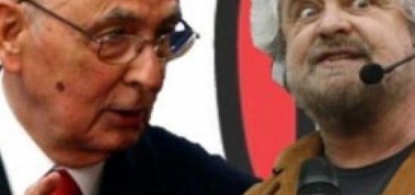 Il Presidente Napolitano e Beppe Grillo