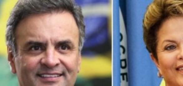 Dilma e Aécio na disputa pela presidência.