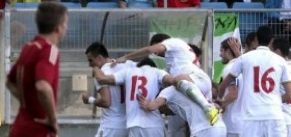 Serbia celebra el 0-1. Foto: Agencia EFE