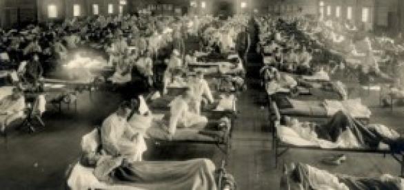 Hospital durante la epidemia de gripe española.