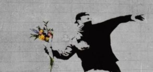 A guerra é um dos temas usados por Banksy