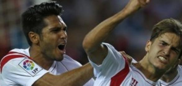 Denis Suárez celebra su gol.