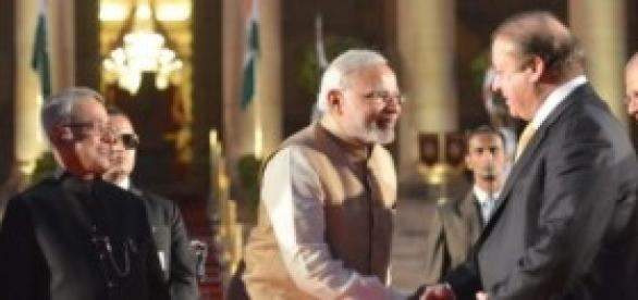 Hand shaking between Indian PM and Pakistani PM