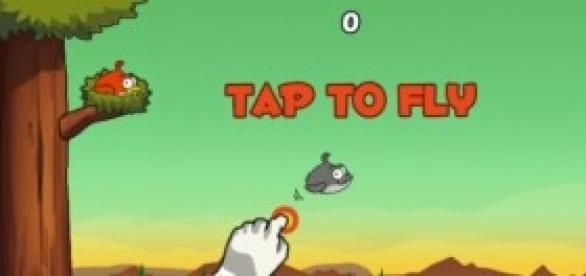 Tela de início do jogo Clumsy Bird
