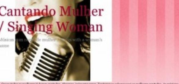 Página principal do blog Cantando Mulher.