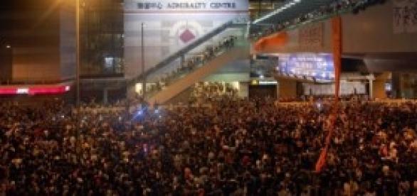Hong Kong protesters rallying