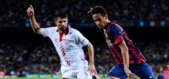 Neymar en un partido ante el Sevilla.