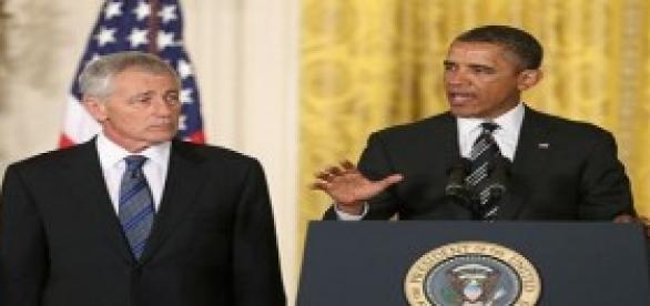 Obama y su ya ex Secretario de Defensa Hagel Chuck