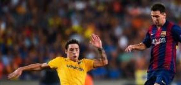 Messi, durante el partido frente al APOEL.