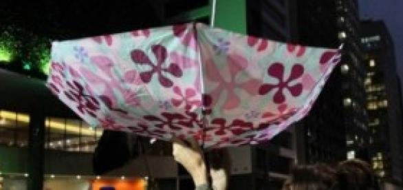 Guarda-chuva ao contrário contra a falta d'água