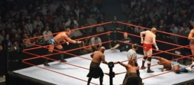 WWE wrestling men in the arena