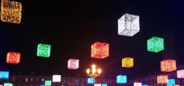 Luces navideñas de la Plaza Mayor en Madrid