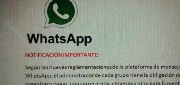 Advertencia a administradores en WhatsApp.
