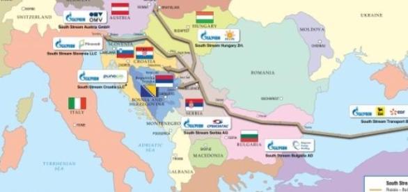 Trajet du South Stream cartographié par Gazprom