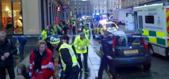 O local do trágico acidente em Glasgow