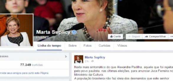 Opinião de Marta Suplicy Foto: Reprodução/Facebook