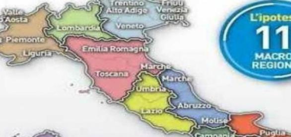 una nuova cartina ipotetica dell'Italia