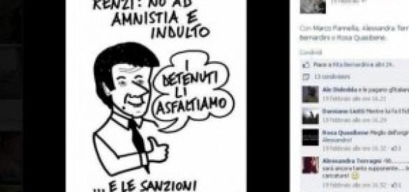 Amnistia e indulto, vignetta contro Renzi
