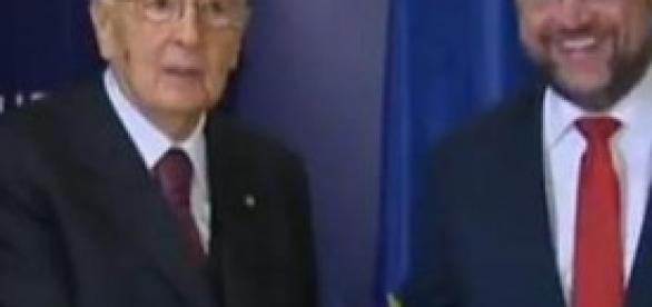 Giorgio Napolitano a Bruxelles con Martin Schulz