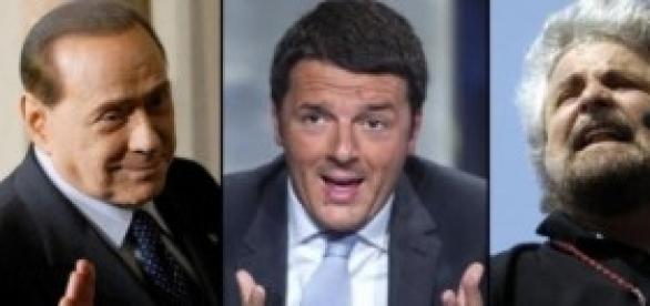 Berlusconi, Renzi e Grillo