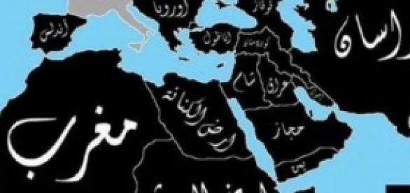 Mapa do Califado com objectivos a longo prazo.
