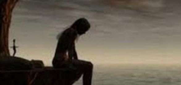 foto de menina triste pensando