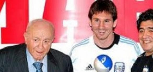 Alfredo Di Stéfano, Lionel Messi y Diego Maradona