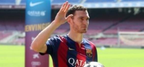Vermaelen en su presentación con el FC Barcelona