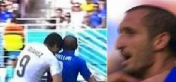 Mordisco de Luís Suarez a Chiellini en el Mundial