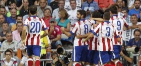 El Atlético celebra el primer gol
