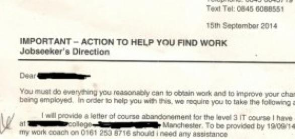letter asking claimant to withdraw from her course