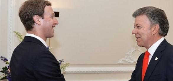 Mark Zuckerberg e o presidente da Colômbia