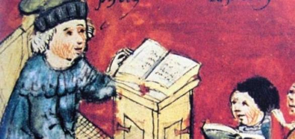 O ensino na Idade Média em representação da época
