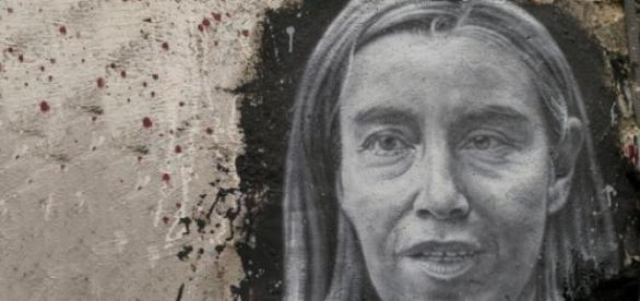 A mural painting of Federica Mogherini