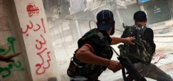 Combatientes rebeldes en Siria