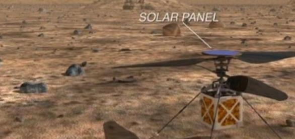 Drone em Marte com painel solar