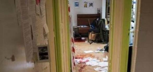 O estado do escritório após o ataque