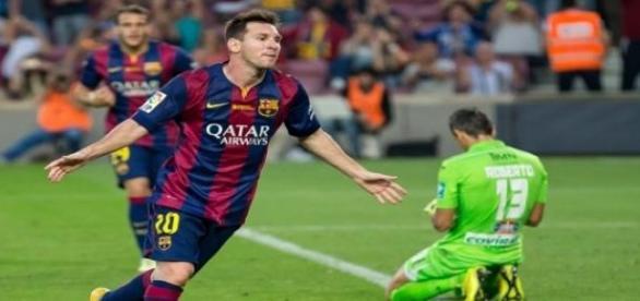 Messi marcando un gol cuando está bien