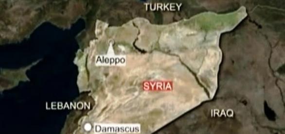 Captura de pantalla, mapa de Siria