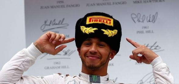 Lewis Hamilton after winning the Russian GP