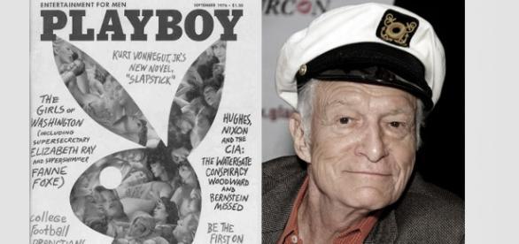 "Okładka ""Playboya"" z roku 1976 oraz Hugh Hefner"