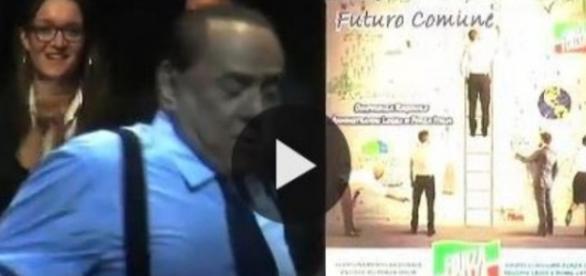 Berlusconi simula uno spogliarello