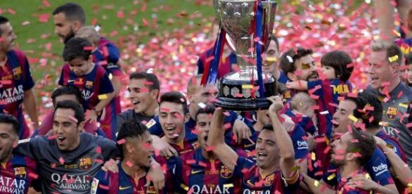 El Barça celebrando el título de Liga 14-15