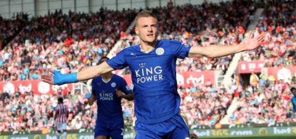 Vardy celebrando el 2º gol frente al Southampton