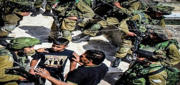Questioning Palestinians about shooting.