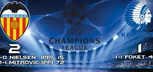 Valencia 2-1 KAA Gent de Champions League