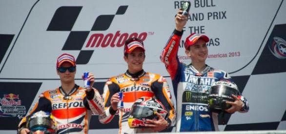 Márquez pedrosa y lorenzo en el podium
