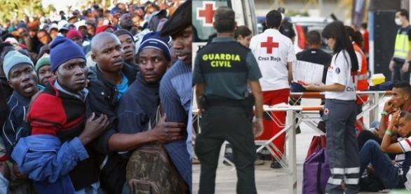 Imigranci szturmujący drzwi szpitala.